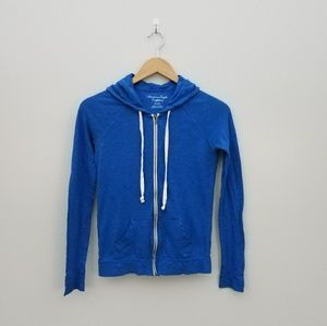 AEO light weight blue zip up hood size xsmall